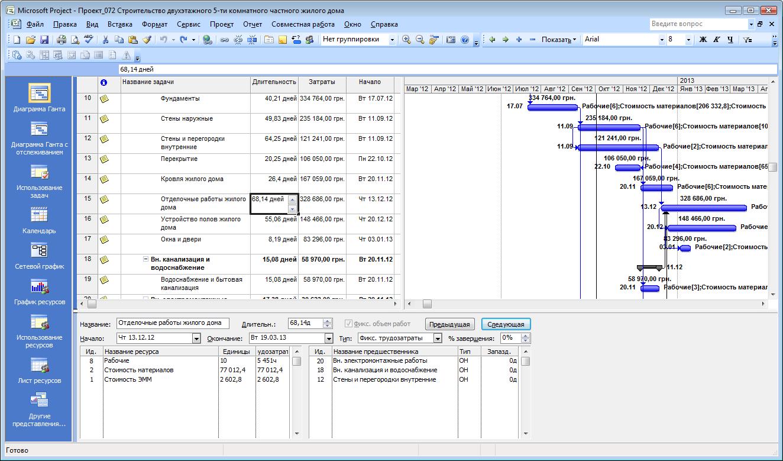 Програмку для составления графика работ в строительстве