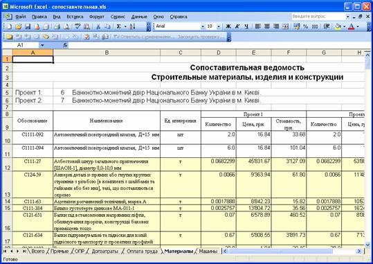 Экспорт сопоставительной ведомости в MS Excel
